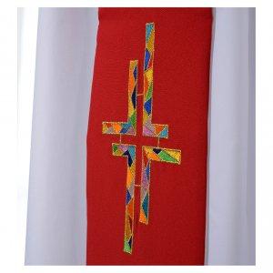 Priesterstolen: Stola rot und weiss double face mit buntem Kreuz