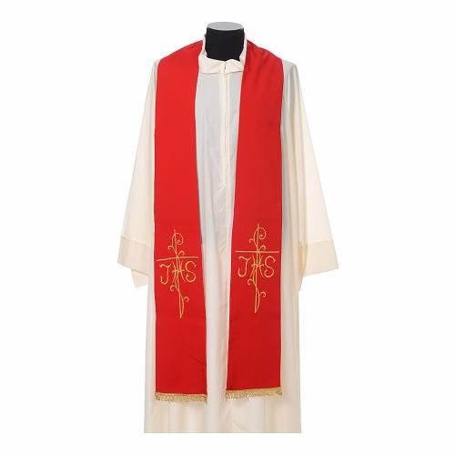 Stola sacerdotale ricamo dorato croce JHS due lati tessuto poliestere s3