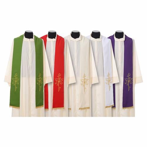 Stola sacerdotale ricamo dorato croce JHS due lati tessuto poliestere s1