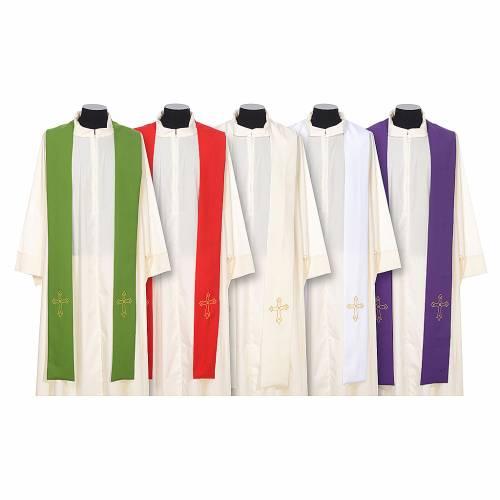 Stola sacerdotale ricamo semplice su due lati tessuto Vatican s1