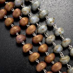 Stone-like rosary beads, silver metal, 9mm s4
