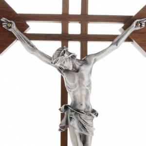 Stylised crucifix with walnut wood squares and silver body s2