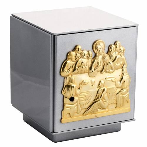 Tabernacle d'autel en fer argenté Dernière Cène bronze s1