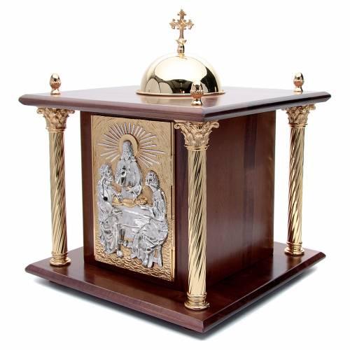 Tabernacle en bois, porte et colonnes en laiton Souper à Emmaüs s2