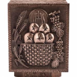 Tabernacolo da mensa in bronzo Pane e Eucarestia s2