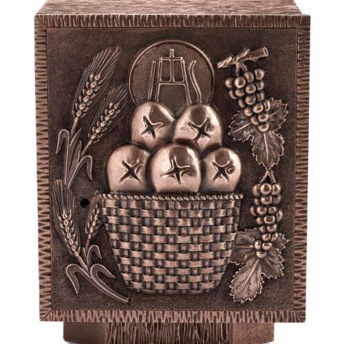 Tabernacolo da mensa in bronzo Pane e Eucarestia 2