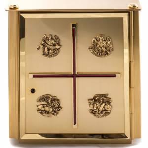 Tabernacolo da mensa in ottone simboli Evangelisti s2
