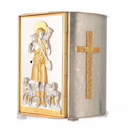 Tabernacolo da mensa tondo Buon Pastore ottone dorato s3