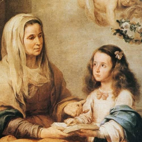 Tableau impression sur bois Sainte Anne de Murillo s2