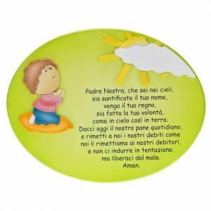 Sonstige Basreliefs: Tafel Vaterunser mit Kind im Gebet