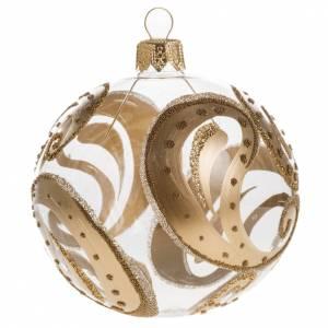 Tannenbaumkugeln: Tannenbaumkugel mit goldenen Dekorationen aus Glas, 8cm