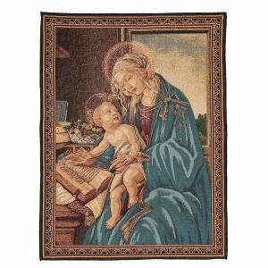 Tapisseries religieuses: Tapisserie inspirée par La Madone du Livre de Sandro Botticelli 65x50 cm