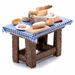 Tavolo tovaglia a quadri e cibo presepe Napoli 10x10x5 cm s3