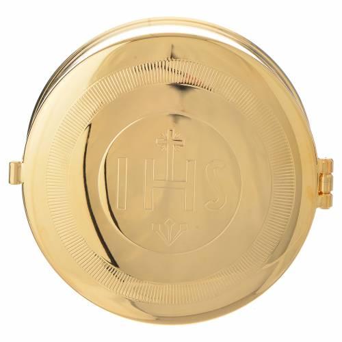 Teca portaostie ottone dorato IHS diam 9 cm con lunetta s1