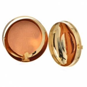 Teca portaostie ottone dorato IHS diam 9 cm con lunetta s4