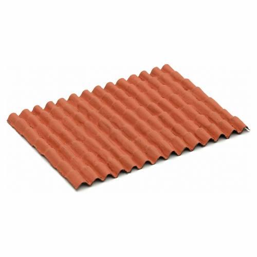 Techo casa pesebre: panel tejas rojas 12,5x9cm s1
