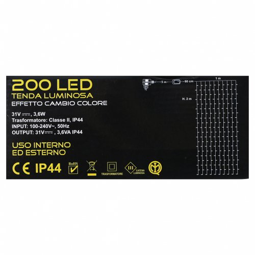 Tenda Luminosa 200 Led fusion Ghiaccio Blu s5