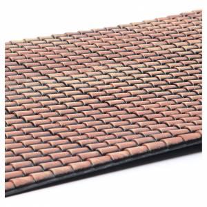 Tetto presepe pannello tegole rosse sfumate 70x50 cm s2
