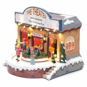 Villages de Noël miniatures: Théâtre Noël musical avec lumières 25x25x20 cm