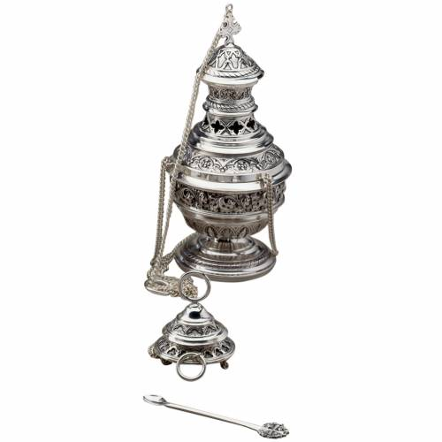 Thurible and boat, Gothic style by Molina in perforated filigree s1