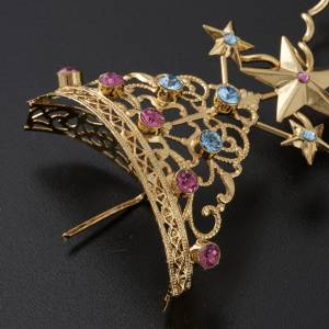 Tiara for statues in gold-plated filigree and color stones s6