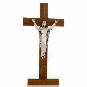 Stehkreuze, Kruzifixe und Kreuze mit Ständer: Tisch Kreuz mit auferstandenen Christus aus Nussbaumholz.