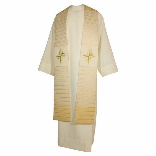 Étole croix stylisée laine double retors s3
