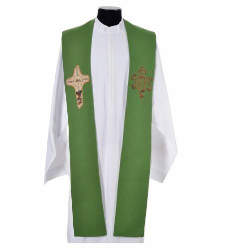Étole liturgique croix IHS polyester coton lurex s6