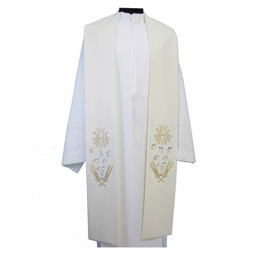 Étole toile polyester épis colombes et symbole IHS s1