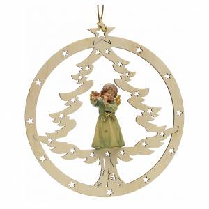 Christmas tree ornaments in wood and pvc: Tree decoration, angel on fir with flute