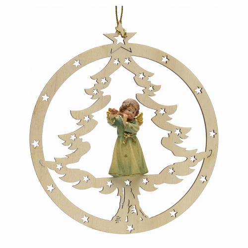 Tree decoration, angel on fir with flute s1