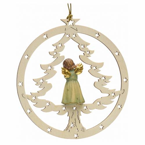 Tree decoration, angel on fir with flute s2