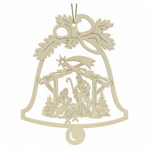 Christmas tree ornaments in wood and pvc: Tree decoration, wooden bell with nativity