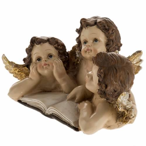 Tres angelitos con libro decoración de navidad s3
