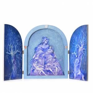 Cuadros, estampas y manuscritos iluminados: Tríptico Virgen con Niño artista Mario Eremita
