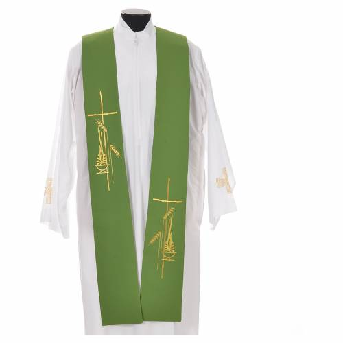 Tristole in polyester with cross, lamp and ear of wheat symbols s9