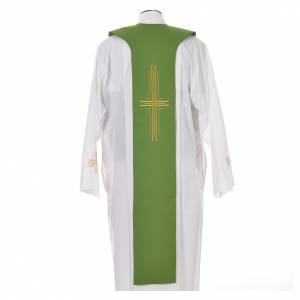 Tristole in polyester with cross, lamp and ear of wheat symbols s10