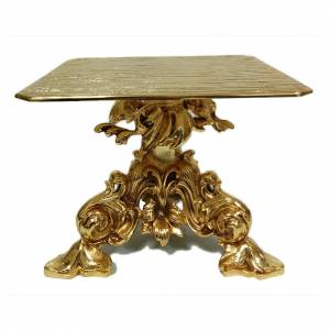 Bases pour ostensoir, trônes: Trône en laiton moulé doré baroque