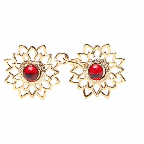 Tunic clasp with red gem, gold-plated s1