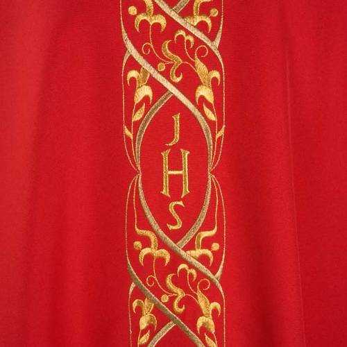 Chasuble liturgique avec broderie IHS s3