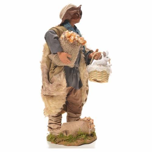 Uomo con cesto di conigli 24 cm presepe Napoli s4