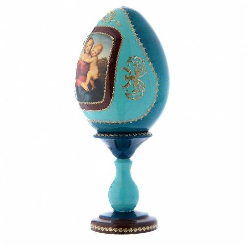 Uovo blu russo decorato a mano La Piccola Madonna Cowper h tot 20 cm s2