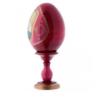 Uovo rosso in legno russo stile Fabergè La Madonnina h tot 16 cm s2
