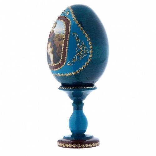 Uovo russo blu in legno La Madonna del Belvedere découpage h tot 16 cm s2