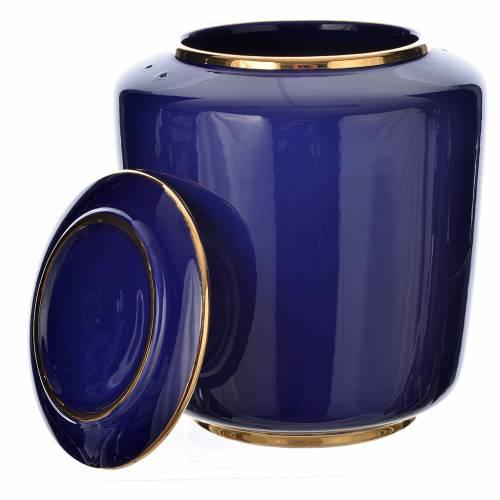 Urn for ashes in enamelled porcelain, Blue gold model s2