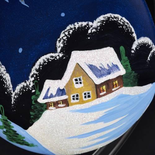 Vaso porta vela de Navidad pintado a mano pueblito con  nieve s3