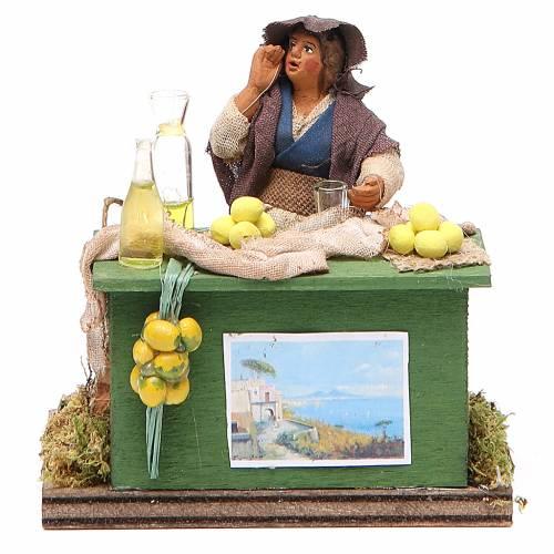 Vendeuse de citrons avec banc 10 cm crèche Naples s1