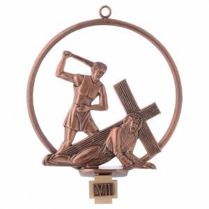 Vía Crucis 15 estaciones redonda en bronce cobrizo s7