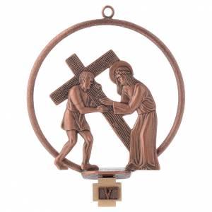 Via Crucis 15 stazioni tonda bronzo ramato s5