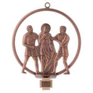 Via Crucis 15 stazioni tonda bronzo ramato s10